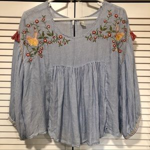 Embroidered Flowy Crop Blouse with Tassels